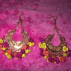 New Floral Gold Dangle Earrings